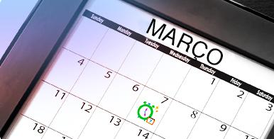 Imagem de um calendário com um dia rodeado a verde. Informações sobre o Calendário Menstrual o.b.®.